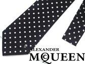【送料無料】Alexander McQueen アレキサンダー マックイーン シルク ネクタイ ブラック ドット柄 323171-4002E-1078 ブランド/メンズ/男性用