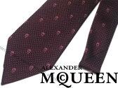 【送料無料】Alexander McQueen アレキサンダー マックイーン シルク ネクタイ ダークレッド ドット×スカル柄 406987-4Q053-6372 ブランド/メンズ/男性用