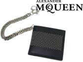 【送料無料】Alexander McQueen アレキサンダー マックイーン ウォレットチェーン付 二つ折り財布 小銭入れあり レザー ブラック 430704-CND7N-1000 ブランド/メンズ/男性用