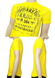 【送料無料】プリント半袖TシャツイエローDSQUARED2'14秋冬AWディースクエアードD2S71GD0171-S20694-172WN0015ブランド/メンズ/男性用