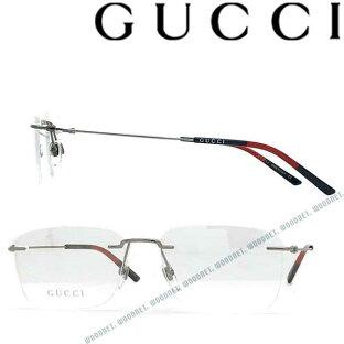 GUCCI メガネフレーム グッチ メンズ&レディース ガンメタルシルバー 縁無し 眼鏡 2pt GUC-GG-0399O-003 ブランドの画像