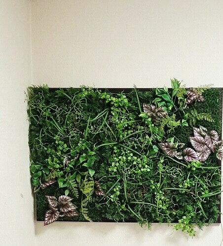 造花グリーン パネル人工観葉植物 グリーン 壁掛け Lサイズ 壁面 飾り インテリア グリーン 壁掛け ナチュラル グリーン フェイク 店舗装飾 壁 緑 壁掛け おしゃれ  インテリアグリーン 通販 ディスプレイ 横幅90cm フェイクグリーン 触媒加工 消臭:きつつき