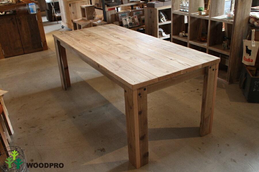 OLD ASHIBA(足場板古材)Aタイプ テーブル幅810〜900mm×奥行690mm×高さ710mm(高さ指定は300〜750mmまで対応可) 無塗装【受注生産】:WOODPRO