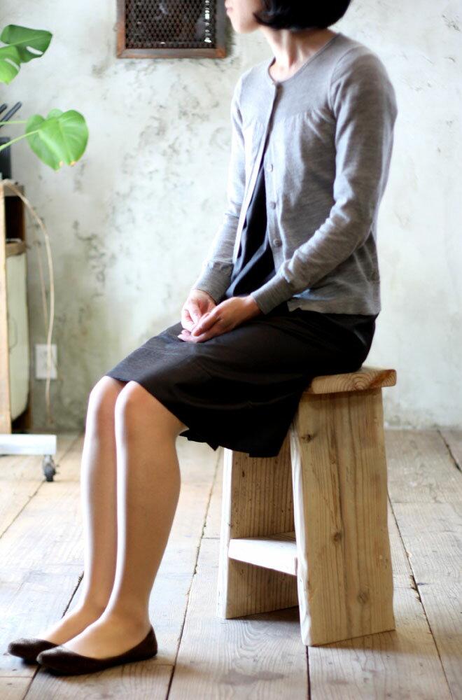 OLD ASHIBA(足場板古材)踏み台スツール(中棚付き) 高さ500mm 無塗装 【小型商品】