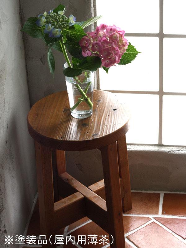 OLD ASHIBA(足場板古材)丸椅子(イス) 高さ420mm 塗装仕上げ 【小型商品】