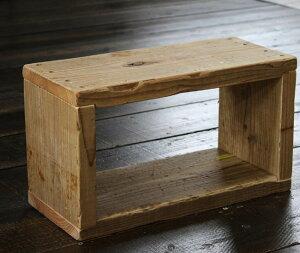 OLD ASHIBA(足場板古材)ラック長方形1型(1段) 無塗装【キューブボックス】