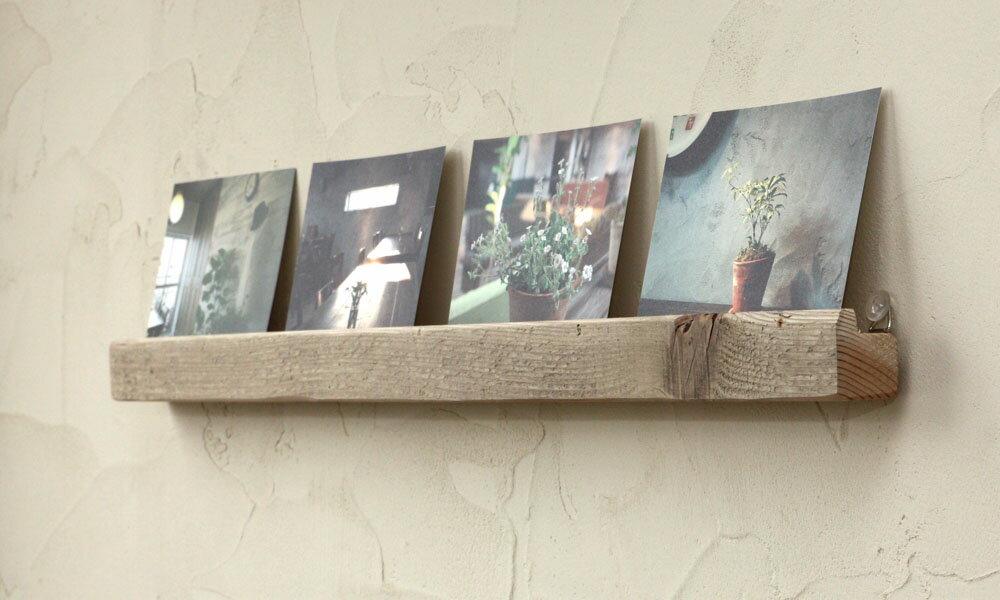 OLD ASHIBA(足場板古材)壁掛けレール(ウォールレール)幅700mm 無塗装【アンティーク風】 【小型商品】