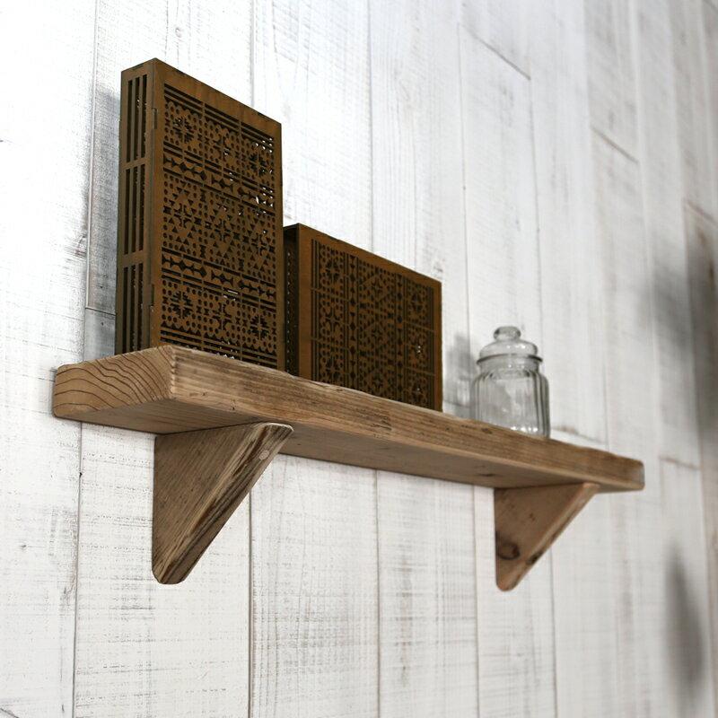 OLD ASHIBA(足場板古材)壁掛け飾り棚(ウォールシェルフ)幅750mm 無塗装【アンティーク風】【小物棚】 【小型商品】