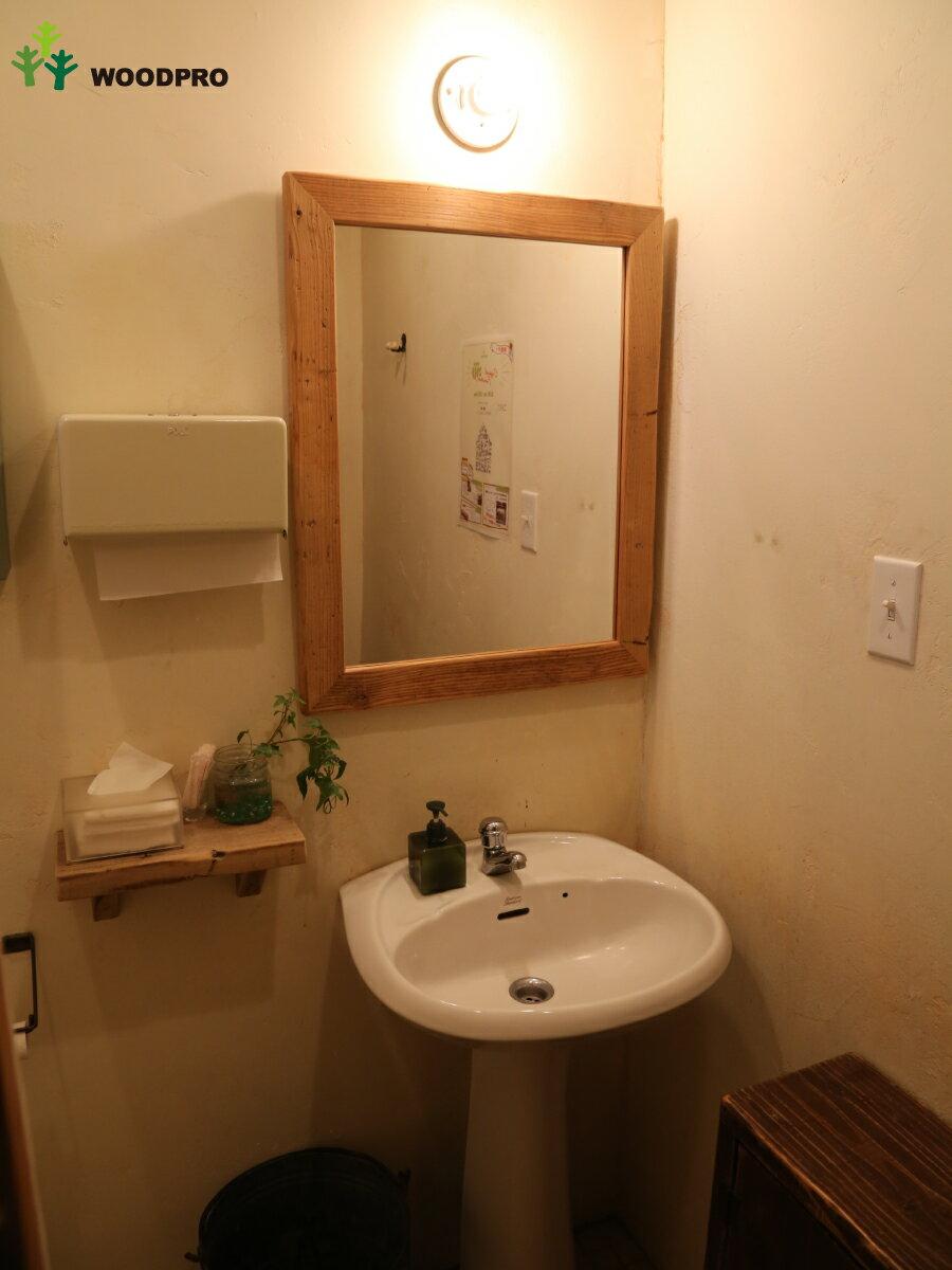 OLD ASHIBA(足場板古材)ミラー(鏡)A型 Lサイズ 塗装仕上げ695mm×520mm【アンティーク風】〈受注生産〉 【小型商品】