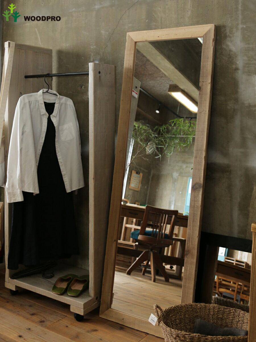 OLD ASHIBA(足場板古材)ミラー(鏡)A型 姿見Lサイズ 無塗装1600mm×520mm【アンティーク風】〈受注生産〉 【特大商品】