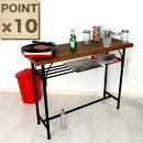 【ポイント10倍】ウッドテーブルカウンターテーブル幅110cm木製鉄脚ブラウンブラックパソコンデスクワークデスク送料無料楽天