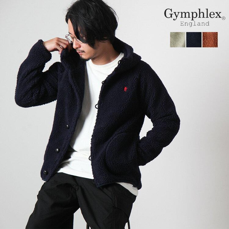 Gymphlex(ジムフレックス)メンズくるみボタンフードボアパーカージャケット J-1185PL
