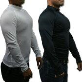 メンズ 長袖 コンプレッションシャツ 4サイズ(M/L/LL/3L)2色より (ハイネック/吸汗速乾/伸縮素材/UV加工)