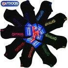 【OUTDOOR】スニーカーソックスブラック/23-25・25-27cm靴下/アウトドアプロダクツ