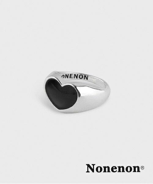 レディースジュエリー・アクセサリー, 指輪・リング BLACKPINK NONENONBLACK LOVE RING Silver heart BTS
