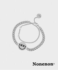 『NONENON』BLACKSMILEBRACELET/ノンノンブラックスマイリーチェーンブレスレット/韓国ファッションアクセサリー人気シンプルシルバーSilverスマイルsmileユニセックス