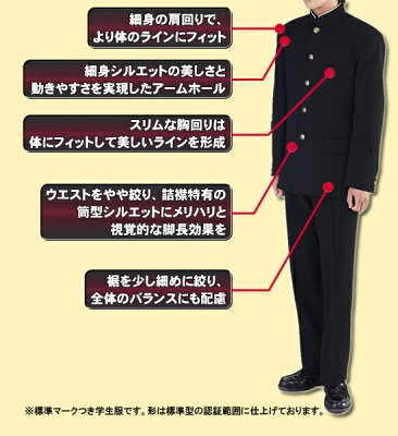ウール50%も超える究極の黒日本製プレミアム版標準型学生服上着試着・丸洗い・ネーム刺繍OK!抜群のソフト感送料無料【学生上着】