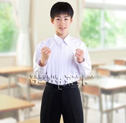 【送料無料】3枚セット汚れにくいスクールシャツ学生服プレミアムなNANOTEC超はっ水防汚加工ずっときれいでサイズも別々選べる形態安定UV男子長袖プレミアムスクールシャツ