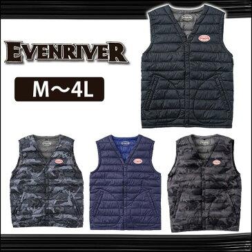 S〜3L|EVENRIVER|イーブンリバー|秋冬作業服|ライトファイバーダウンベスト R-105