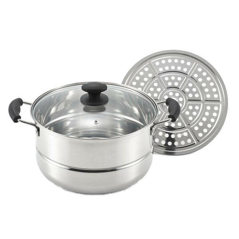 味名人 たっぷり鍋・蒸し皿付き28cm AM-28W 1001436