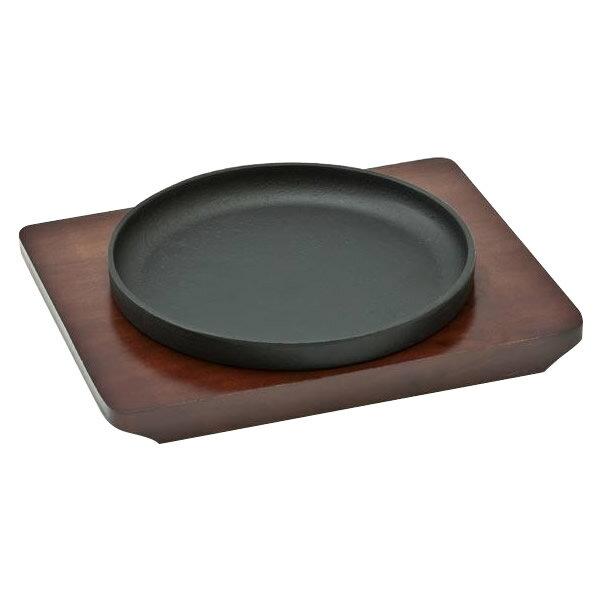 池永鉄工 スタッキングステーキ皿 木台付 ハンドルなし 13cm