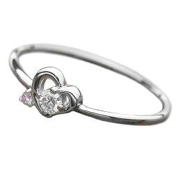 ダイヤモンド リング ダイヤ アイスブルーダイヤ 合計0.06ct 9号 プラチナ Pt950 ハートモチーフ 指輪 ダイヤリング 鑑別カード付き