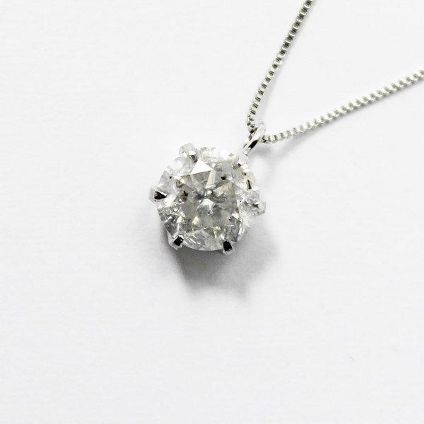 純プラチナ0.9ctダイヤモンドペンダント/ネックレス ベネチアンチェーン【代引不可】
