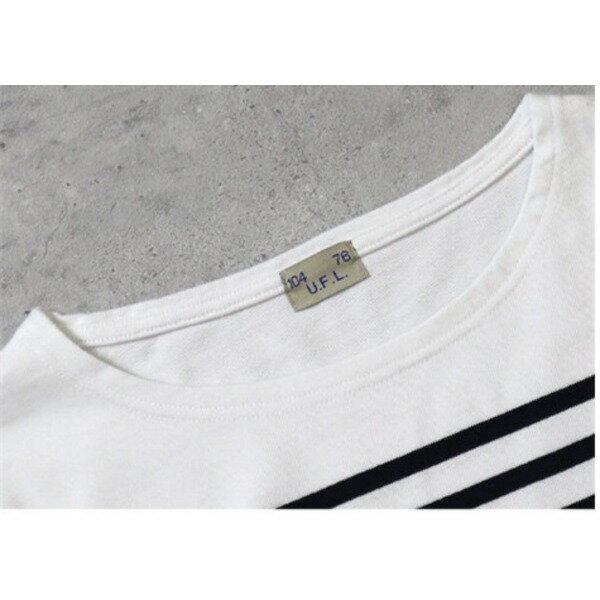 フランスタイプ ボーダーシャツ JU048YN ホワイト×ネイビー L