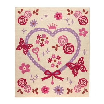 【送料無料】デスクカーペット 女の子 エハート柄 『キャリー ツー』 アイボリー 110×133cm