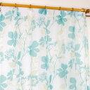 【送料無料】レースカーテン 2枚組 / 100cm×133cm ブルー / 南国 花柄 洗える 〔リビング〕 『Lパスピエ』 九装