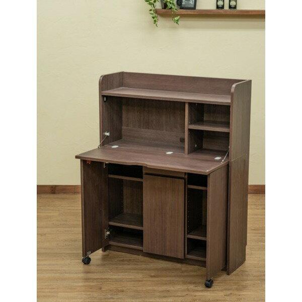 Solano ライティングデスク 90cm幅 ダークブラウン (DBR)【代引不可】