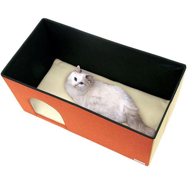 necoco キャットハウス&スツール オレンジモザイク ワイド【ペット用品・猫用】