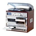 【送料無料】多機能音楽プレーヤー 【幅32.5cm】 レコード CD カセット ラジオ 『マルチダブルオーディオレコードプレイヤー』【代引不可】
