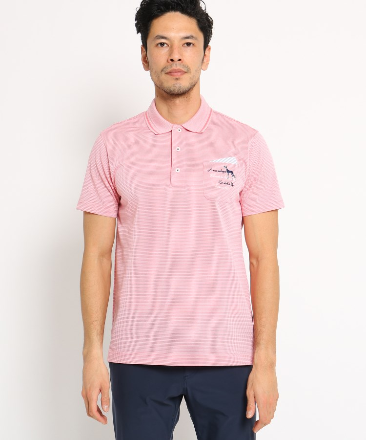 adabat(Men)(アダバット(メンズ))【吸水速乾】胸ポケット付きミニチェック半袖ポロシャツ メンズ