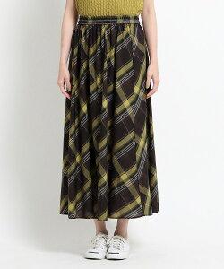 Dessin(Ladies)(デッサン(レディース))【XS〜L・ウエストゴム】ガーゼチェックロングスカート<上品カジュアル>