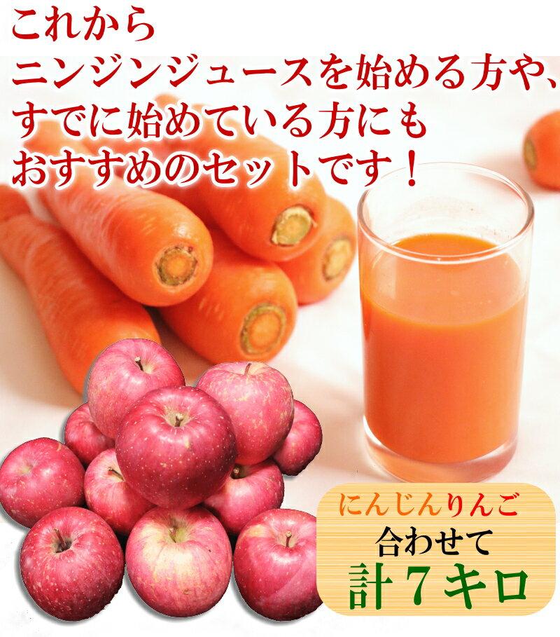 無農薬にんじんとりんごのジュース用セットニンジン5キロとリンゴ2キロ 訳あり 合計7キロ農薬にんじんとりんごの人参ジュース用セット保存袋のおまけ付き加工・ジュース用にんじんジュースに最適