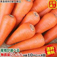 【定期購入】産地が選べる無農薬にんじんB品10キロ×4回(計40キロ)