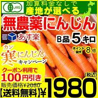 産地が選べる無農薬にんじんB品5キロ