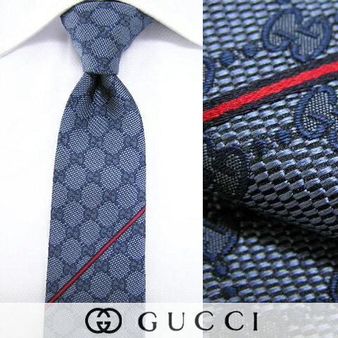グッチ/GUCCI メンズ ネクタイ 6767 (ブルー/GGパターン) ジャガード織り/結婚式/プレゼント/誕生...