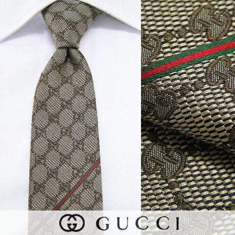 グッチ/GUCCI メンズ ネクタイ 0908 (ゴールドブラウン/GGパターン) ジャガード織り/結婚式/プレゼ...