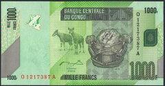 【未使用紙幣!】コンゴ民主共和国 1000 francs ルバ族首長のヘッドレスト/オウム 2005年