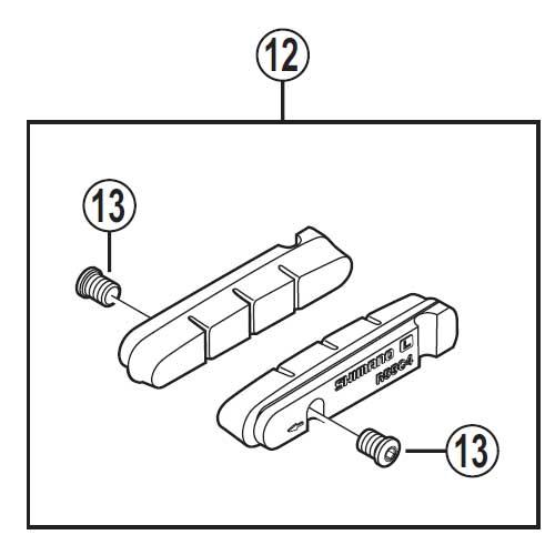 【あす楽】【M便】[12]R55C4 カートリッジタイプブレーキシュー&固定ネジ(1ペア)