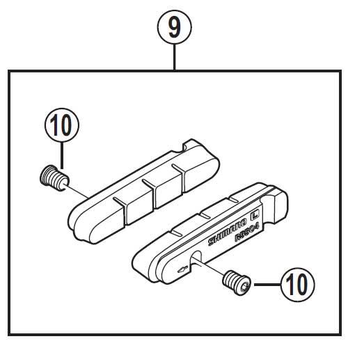 【あす楽】【M便】[9]R55C4 カートリッジタイプブレーキシュー&固定ネジ(1ペア)