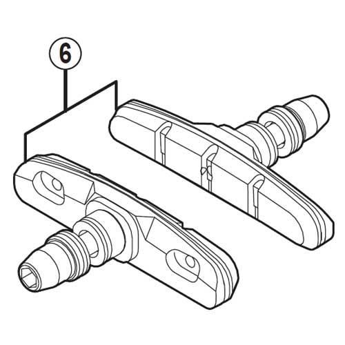 [6]M70T4カートリッジタイプブレーキシューセット(左右ペア) 【自転車】【ロードレーサー用】【SORA】【BR-R353用スモールパーツ】