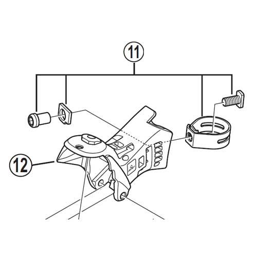 [12]ブラケット(左用) 【自転車】【ロードレーサー用】【SORA】【ST3500用スモールパーツ】