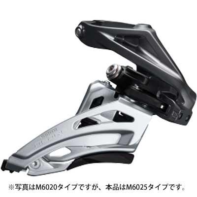 シマノ DEORE FD-M6025-H ハイポジションバンドタイプ34.9mm(31.8/28.6mmアダプタ付) ダウンスイング/デュアルプル フロントディレイラー