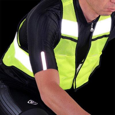 R250サイクル反射ベストポケット付きネオンイエローフリーサイズ