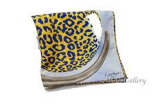 【美品】【中古】カルティエCartierスカーフ大判シルク絹100%パンテールヒョウ柄ブルー系青