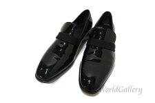 【中古】【美品】フェラガモFerragamoサルヴァトーレメンズ紳士靴ローファー革エナメルブラック黒サイズ83E