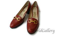 【中古】【美品】フェラガモFerragamoレディース靴パンプスガンチー二ロゴレッド赤サイズ4,522cmゴールド金人気